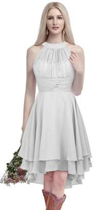 f7a9b134e459 ThaliaDress Short Chiffon Halter Hi Lo Country Bridesmaid Dress Prom Gown  T052LF US