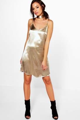 boohoo Ava Tie Neck Satin Slip Dress $24 thestylecure.com