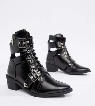 Truffle Collection Lace Up Pointed Ankle Boots