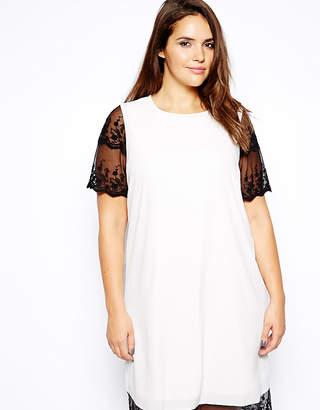 Asos Shift Dress With Lace Hem