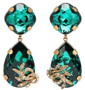 Dolce & Gabbana Crystal and brass clip-on earrings