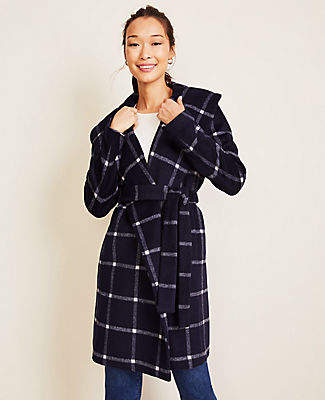 Ann Taylor Windowpane Shawl Collar Wrap Coat