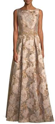 LM Collection Long Metallic-Brocade Evening Gown