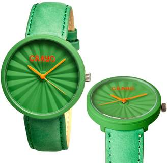 Crayo Pleats Green Stainless Steel Case Unisex Watch