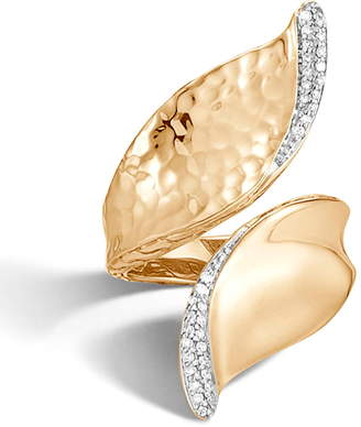 John Hardy Classic Chain Wave Hammered 18K Gold Bypass Ring