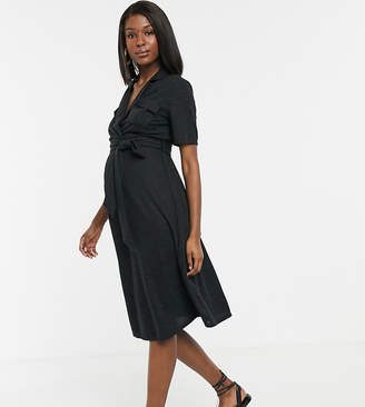 Asos DESIGN Maternity midi belted shirt dress in slub