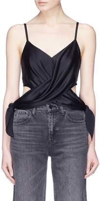 Alexander Wang Cross tie cutout silk charmeuse camisole top