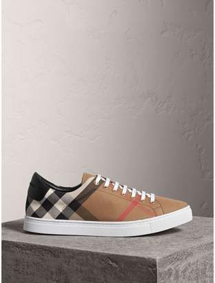 Burberry House Check Cotton and Leather Trainers