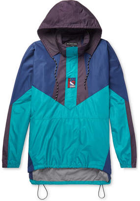 Balenciaga Colour-Block Ripstop Hooded Half-Zip Jacket - Turquoise