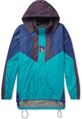 Balenciaga Colour-Block Ripstop Hooded Half-Zip Jacket - Men - Turquoise