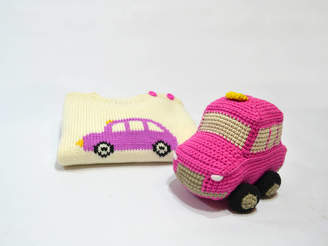 Anagibb London Cab Knitted Toy In Pink And Black