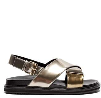 Marni Fussbett Crossover Strap Leather Sandals - Womens - Silver Multi