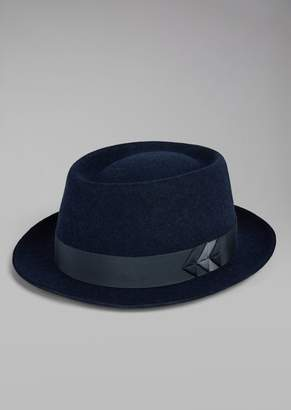 Giorgio Armani Hat In Merino Wool Felt With Origami Ribbon