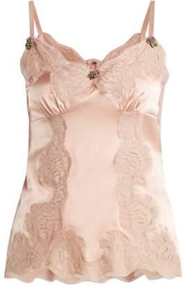 Dolce & Gabbana Lace-trimmed silk-satin camisole