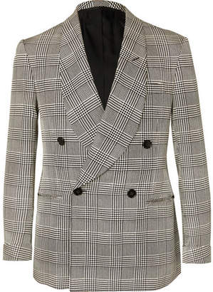 Ralph Lauren Purple Label Slim-fit Double-breasted Prince Of Wales Checked Silk Tuxedo Jacket