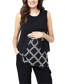 Ripe Maternity Grid Crossover Blouse