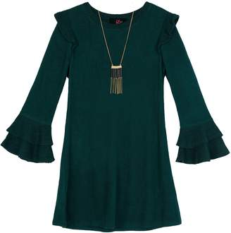 Amy Byer Iz Girls 7-16 IZ Ruffled Bell Sleeve Dress with Necklace