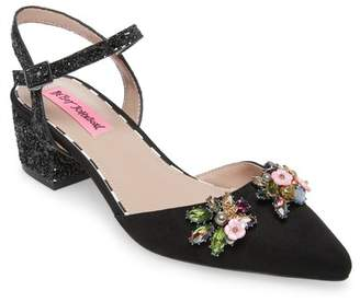 04fb54ab17cf9a Betsey Johnson Black Block Heel Women s Sandals - ShopStyle