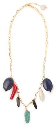 Timeless Pearly - Catarina Stone & Pearl Drop Necklace - Womens - Multi