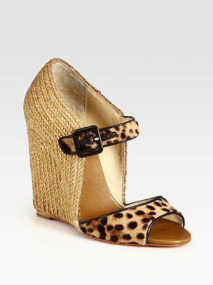 Leopard-Print Pony Hair and Leather Wedge Sandals