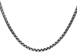 Men's Black Stainless Steel Wheat Chain Necklace