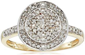 10k Gold Diamond Pave Disc Ring (1/4cttw