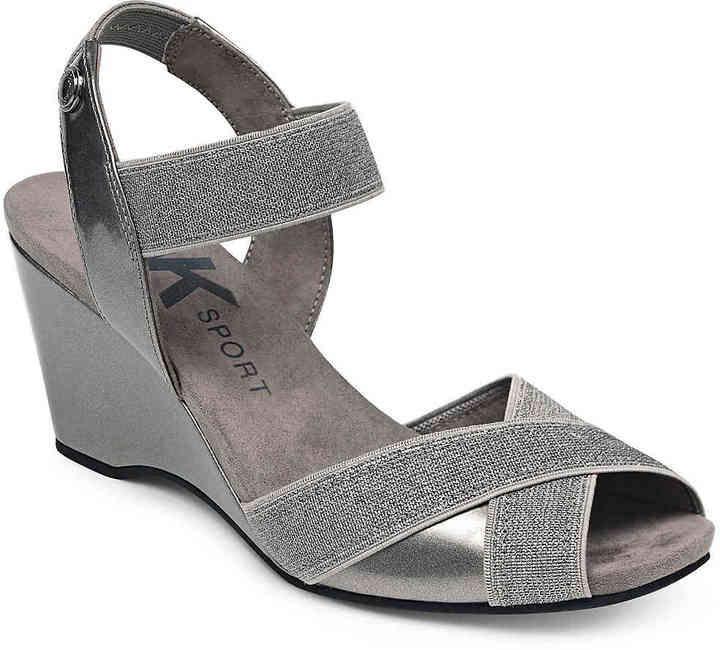 Anne Klein Women's Wilamina Wedge Sandal -Pewter Metallic
