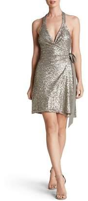 Dress the Population Danielle Sequin Wrap Mini Dress