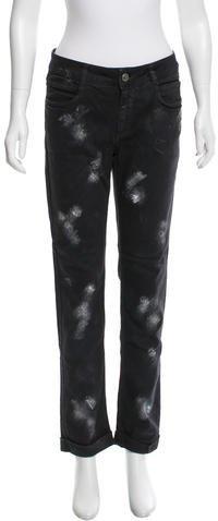 ChanelChanel Brushstroke Print Straight-Leg Jeans