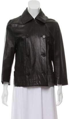 Narciso Rodriguez Leather Double-Breasted Jacket