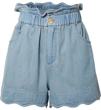 Sea Dakota Scalloped Denim Shorts - Light denim