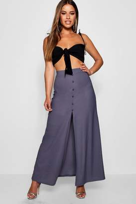 boohoo Petite Button Through Split Maxi Skirt