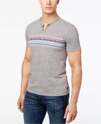Lucky Brand Men's Stripe Split Neck T-Shirt