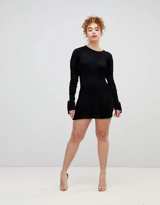 boohoo Tie Cuff Rib Knit Dress