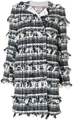 Thom Browne Tartan Check Cardigan Overcoat In Handpicked Tweed