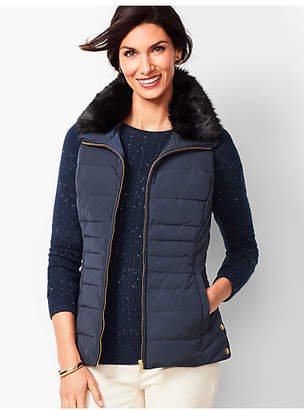 Talbots Down Faux-Fur Collar Puffer Vest