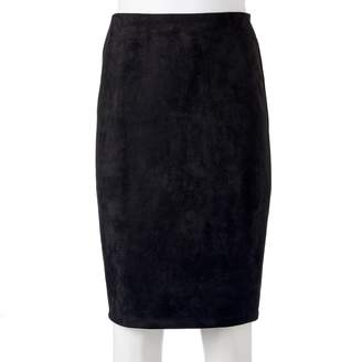 Women's Double Click Faux-Suede Midi Skirt