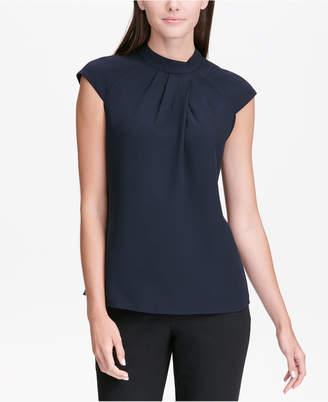 Calvin Klein Pleated Cap-Sleeve Top, Regular & Petite