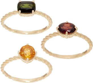 Judith Ripka 14K Garnet, Citrine & Green Tourmaline Ring Set