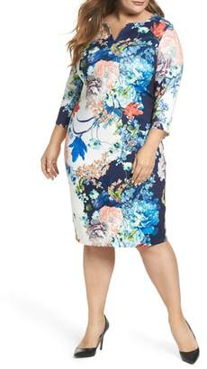 ECI Floral Jersey Sheath Dress