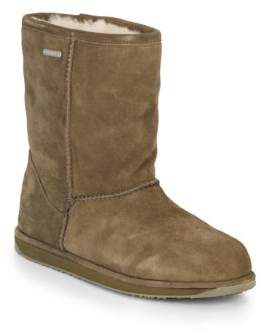 Paterson Shearling-Lined Suede Mid-Calf Boots $199 thestylecure.com