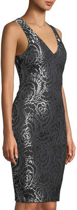 GUESS Two-Tone Lace Back-Cutout Sleeveless Sheath Dress