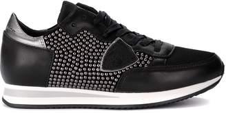 Philippe Model Sneaker Model Tropez Black Leather Sneaker With Micro Studs