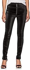 Area Women's Esme Stretch-Lamé Zip-Front Leggings-Black