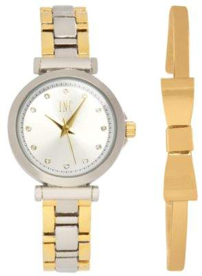 INC International Concepts I.N.C. Women's Two-Tone Bracelet Watch 28mm Gift Set, Created for Macy's