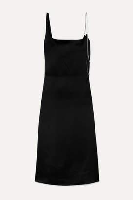 Commission - Chain-embellished Satin Midi Dress - Black