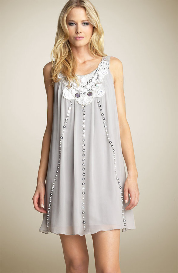 Sue Wong Embellished Silk Shift Dress