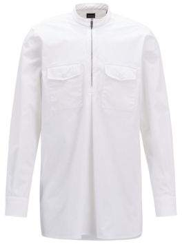 BOSS Hugo Relaxed-fit shirt zippered half placket S White