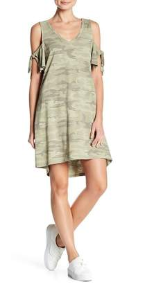 Sanctuary Lakeside Camo Tie Cold Shoulder Dress