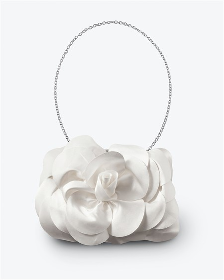 Ivory Satin Double Rose Clutch